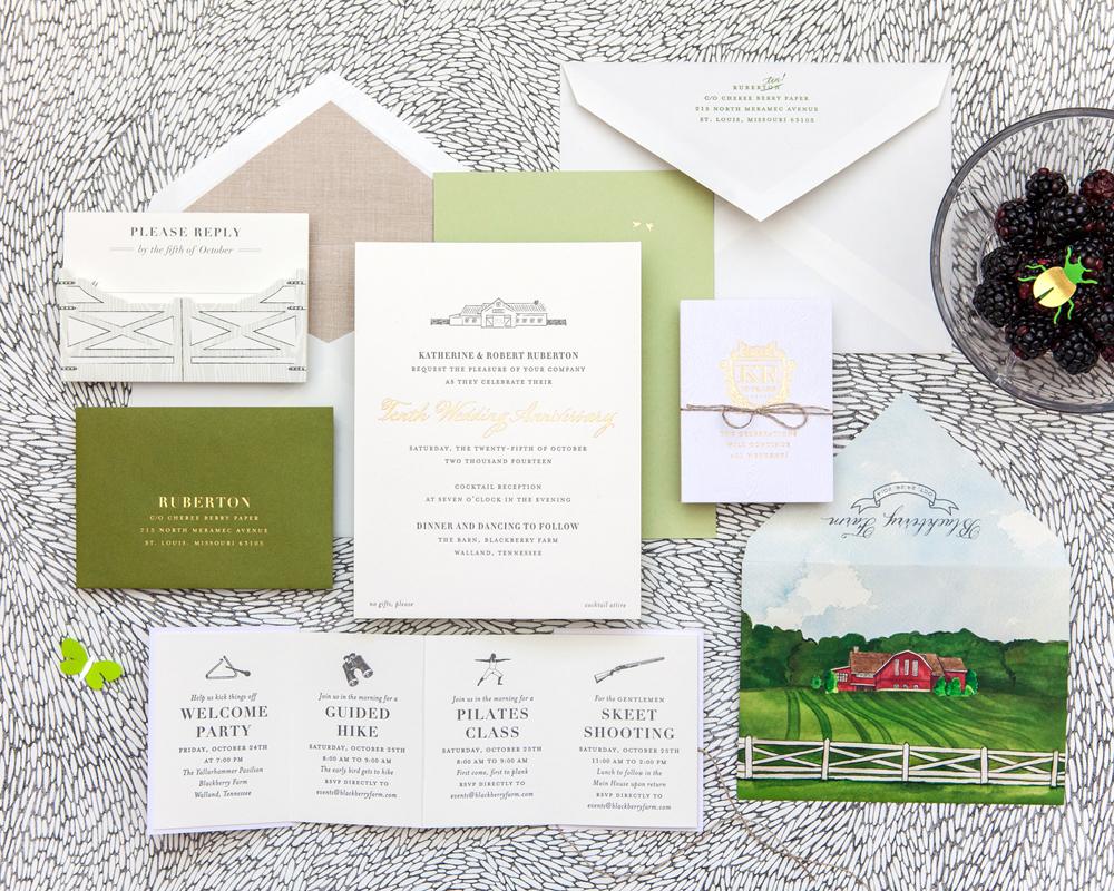 rustic wedding invite with watercolor