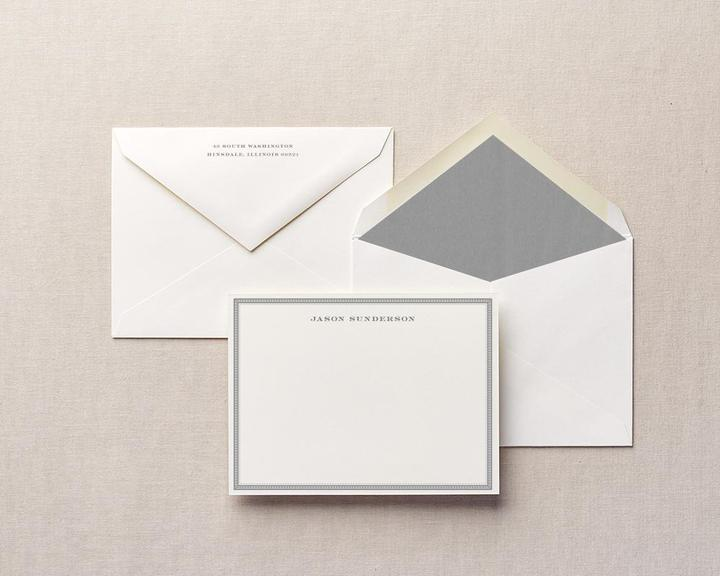 dentil edge personalized stationery