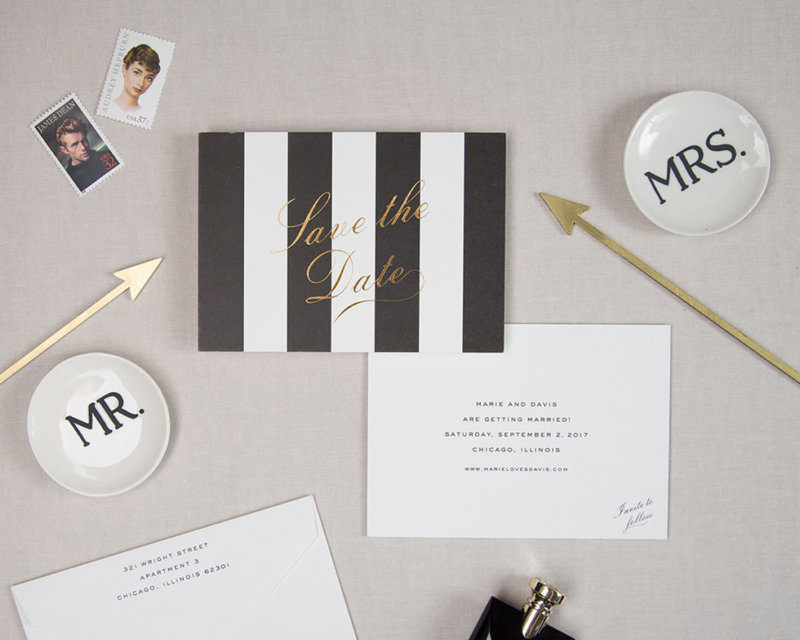 awning stripe save the date front and back
