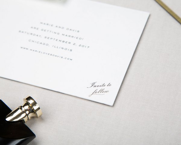 awning stripe silver foil detail save the date