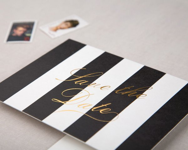 awning stripe gold foil save the date