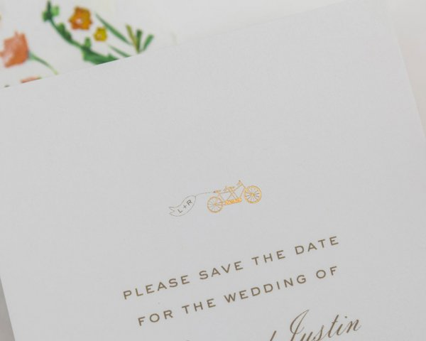 gold foil bike detail wedding save the date