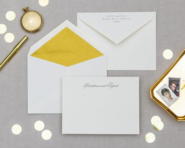 blooming border gold wedding notecards