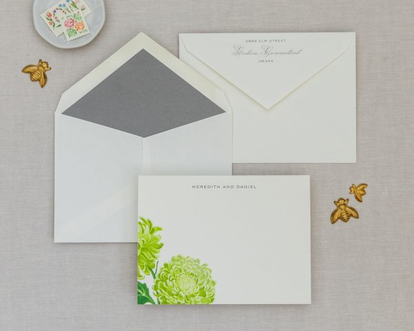 blossom deary green wedding notecard