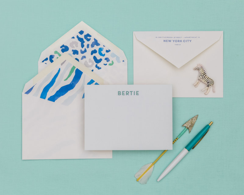 wild watercolor personalized stationery set blue