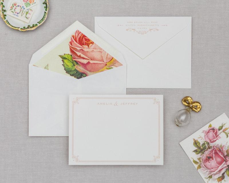 blushing beauty personalized stationery