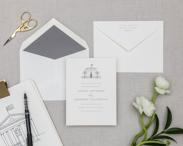 architectural venue illustration save the date