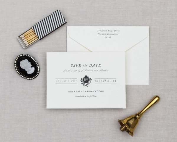 vintage black and white save the date