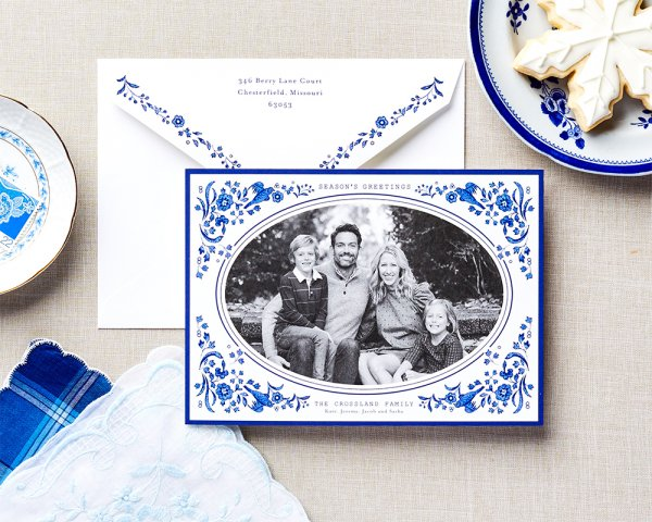 pleasing porcelain pattern holiday card