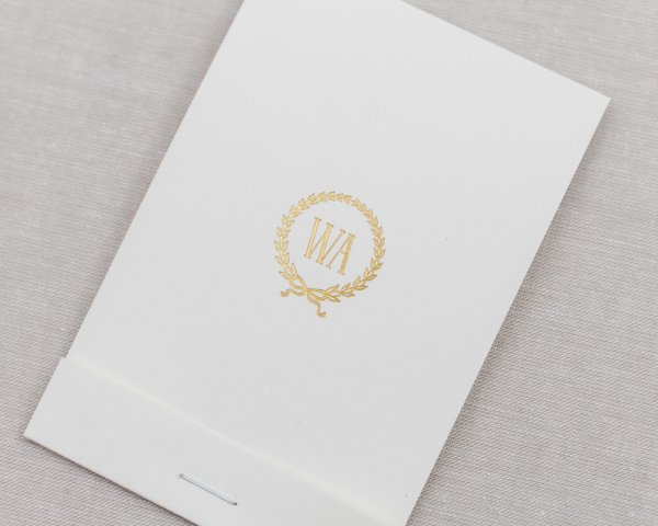 matchbook wedding save the date gold foil monogram