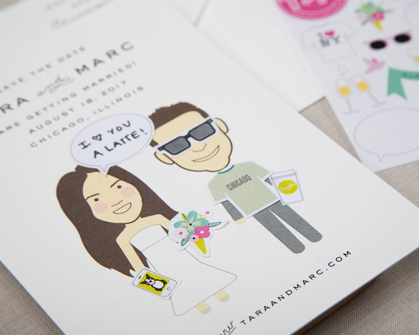 i love you a latte wedding save the date with stickers