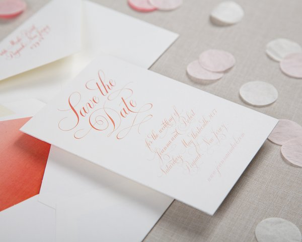 perfectly penned debossed wedding save the date