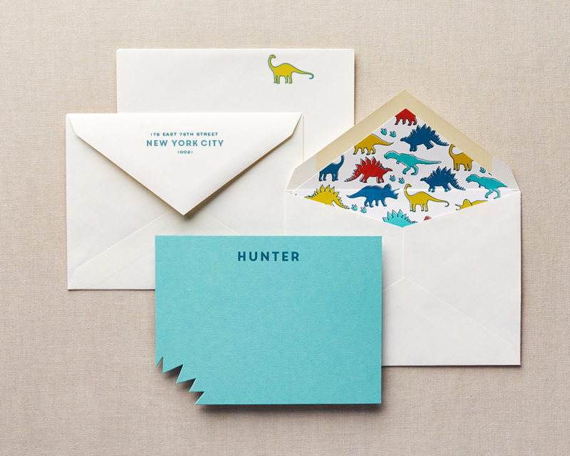 dino bite kids personalized die cut stationery