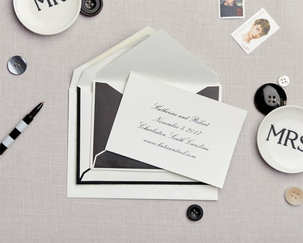 black and white nesting envelopes save the date
