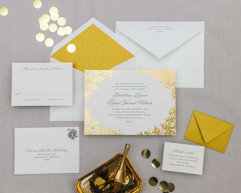 blooming border gold foil full wedding suite