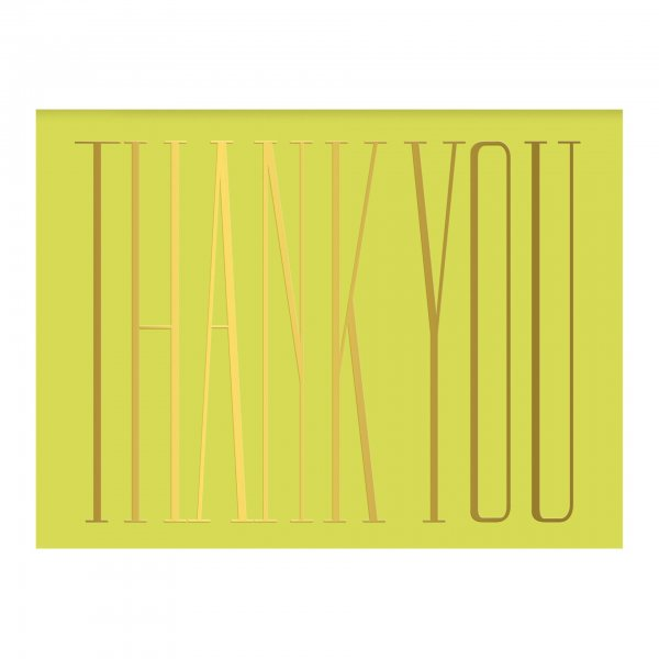 chartreuse gold foil thank you card