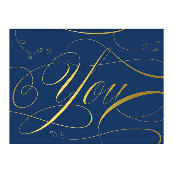 blue gold foil script card proof