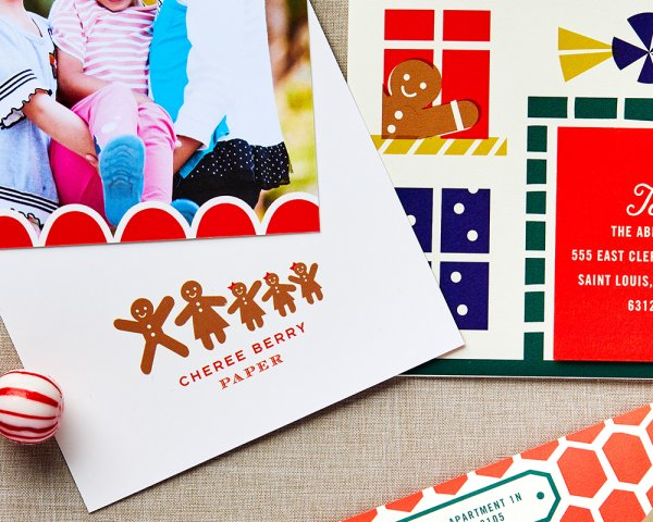 stay home for the holidays gingerbread family holiday card