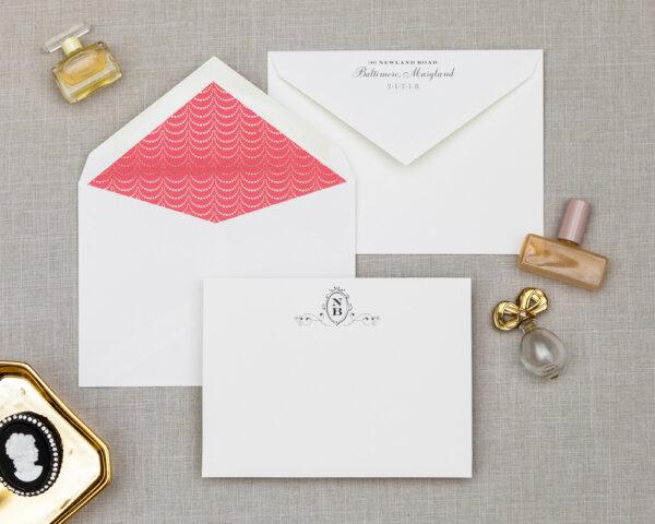 golden garland wedding notecard