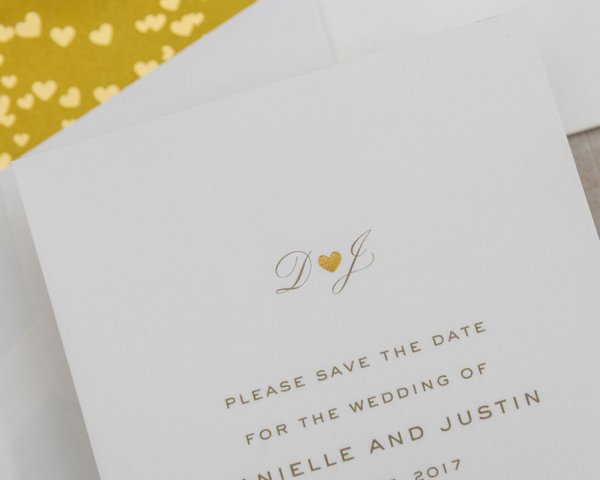 gold foil heart detail wedding save the date