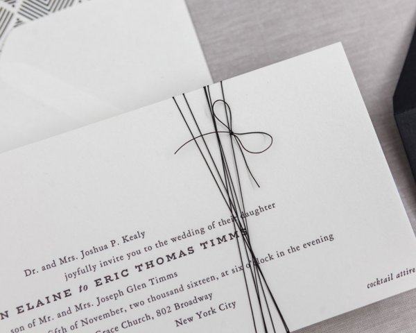 wedding invitation hand tied bow detail