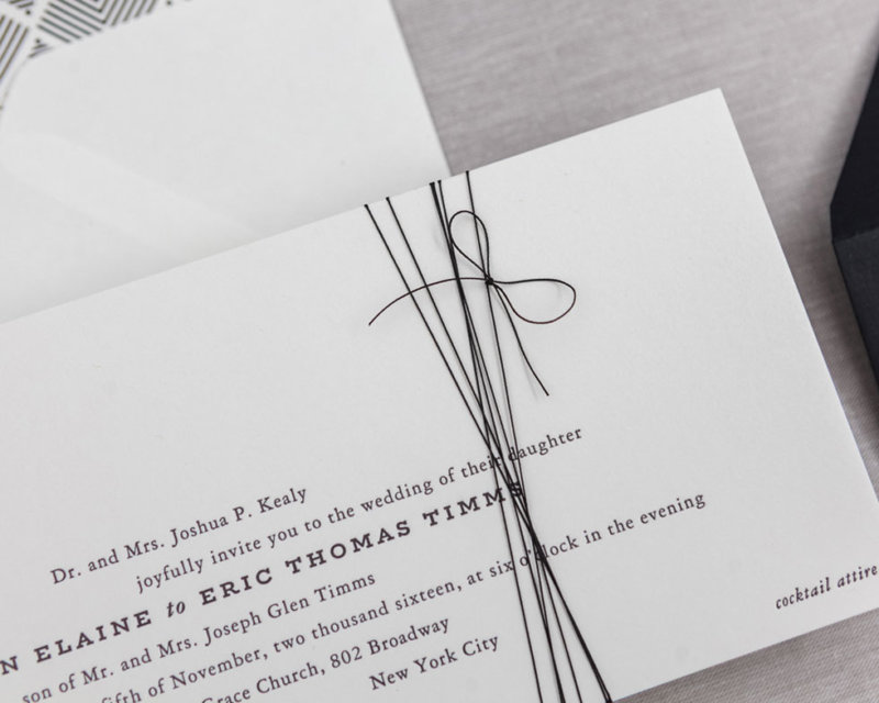 wedding invitation hand tied bow detail
