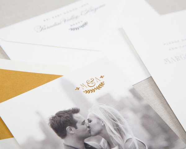 ivy league gold foil detail wedding save the date
