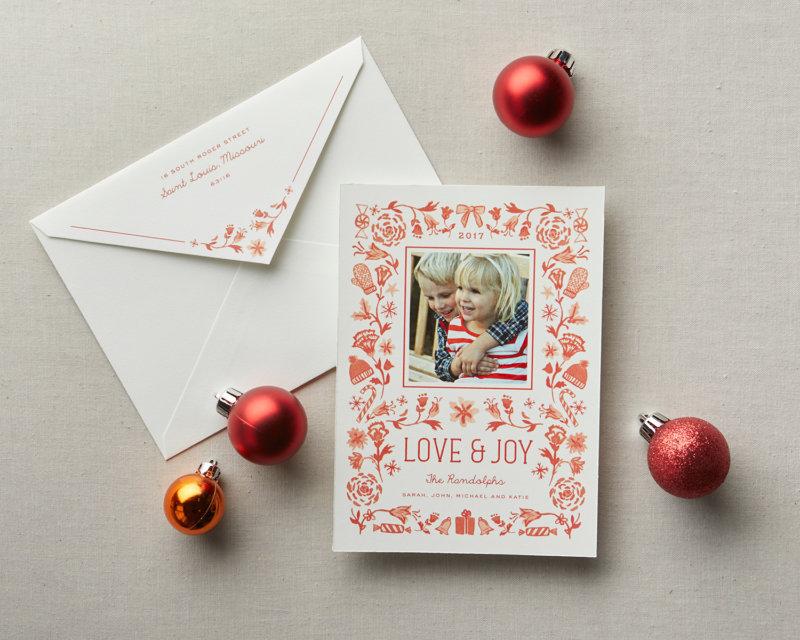 love and joy holiday card orange