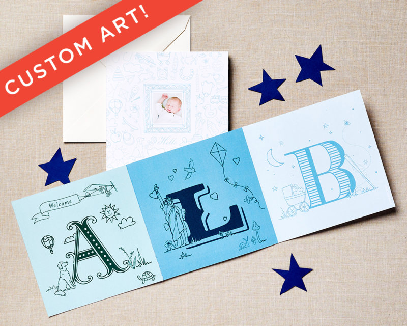 love letters blue baby announcement