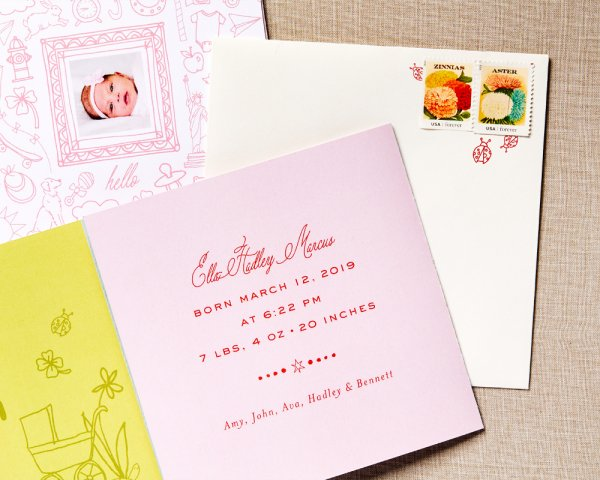 love letters pink baby announcement detail