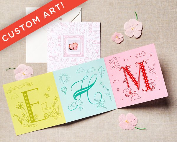 love letters pink baby announcement