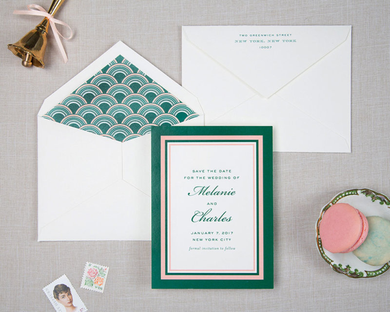 green and pink retro wedding save the date