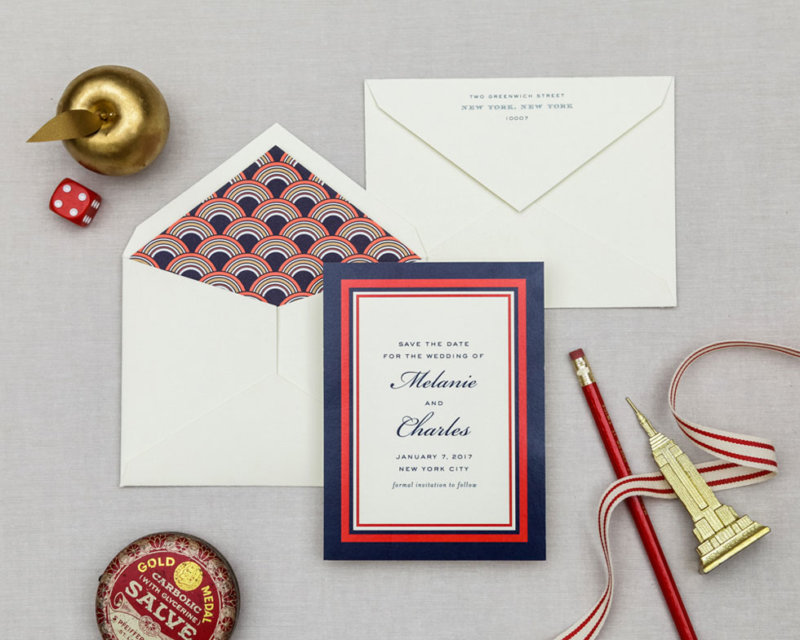 navy and red retro wedding save the date