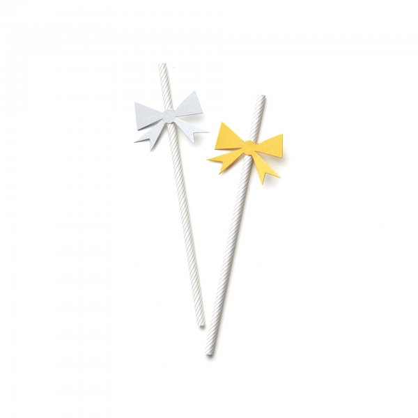 silvery and gold holiday bow straws