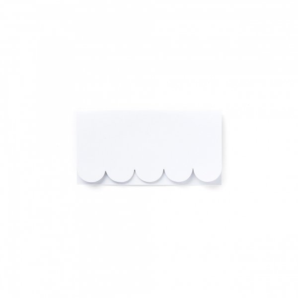 white scallop place cards