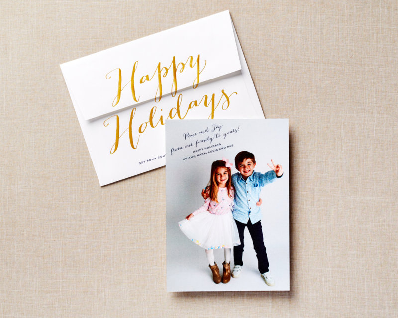 gold foil type holiday card