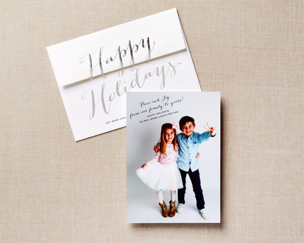 silver foil type holiday card envelope