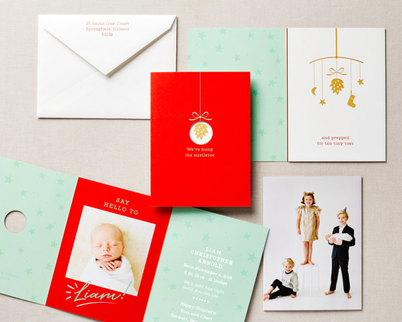 die cut baby announcement holiday card