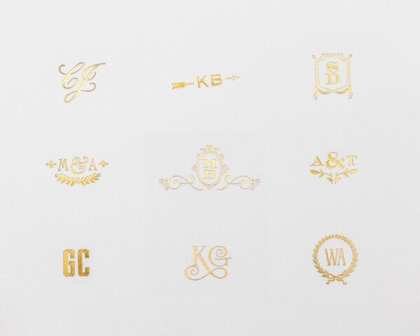 gold foil monogram choices