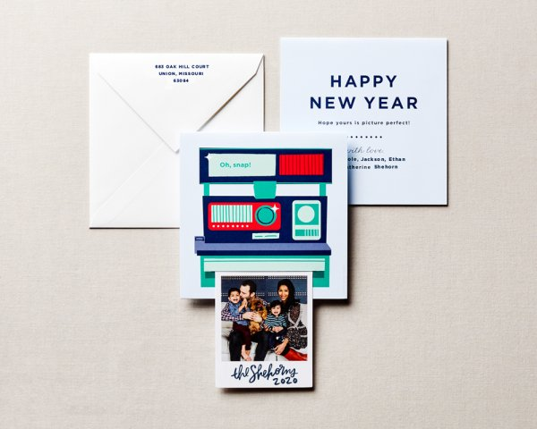 polaroid pull out holiday card