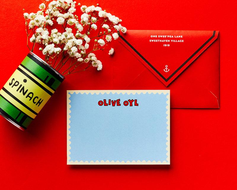 olive oyl personalized popeyes stationery