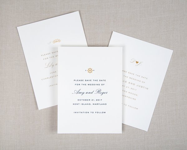 on your mark gold foil icon wedding save the dates