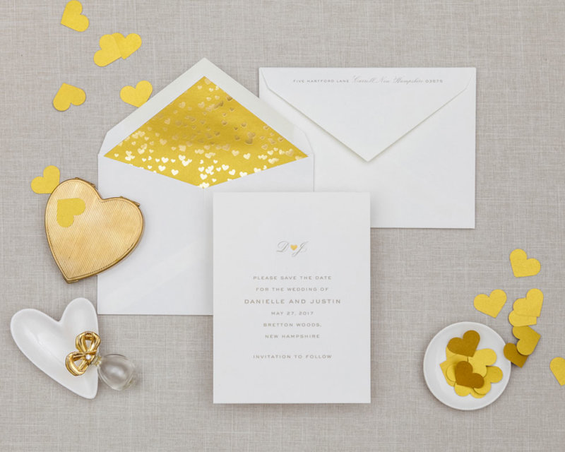 gold foil hearts wedding save the date
