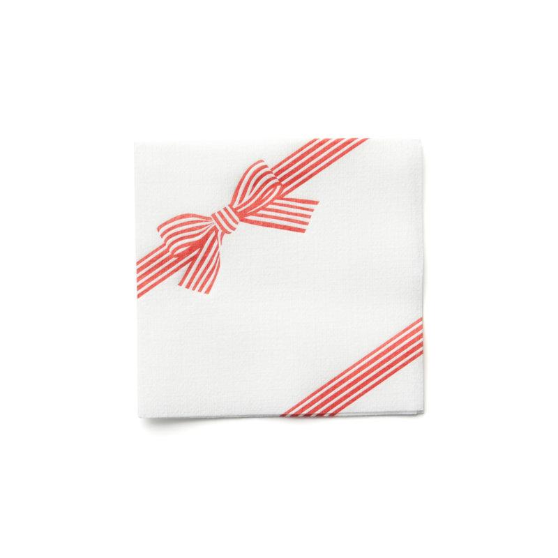 holiday bow cocktail napkin