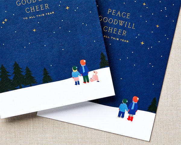 peace goodwill cheer holiday card gold foil
