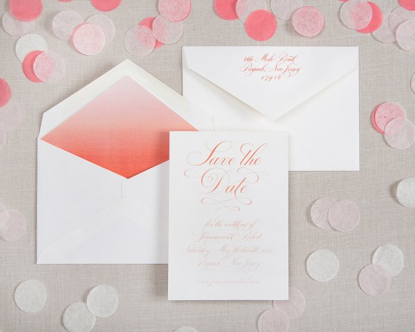 perfectly penned debossed card ombre liner wedding save the date