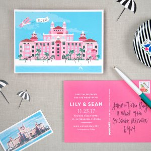 pink save the date wedding postcard
