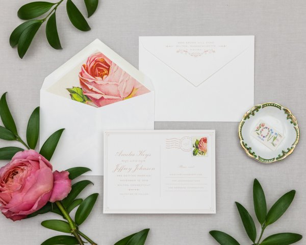 blushing beauty wedding save the date postcard