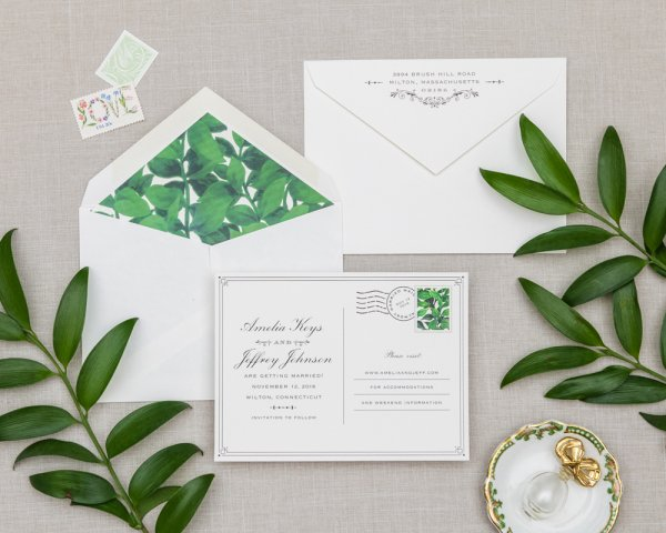 topiary tell all greenery wedding save the date postcard