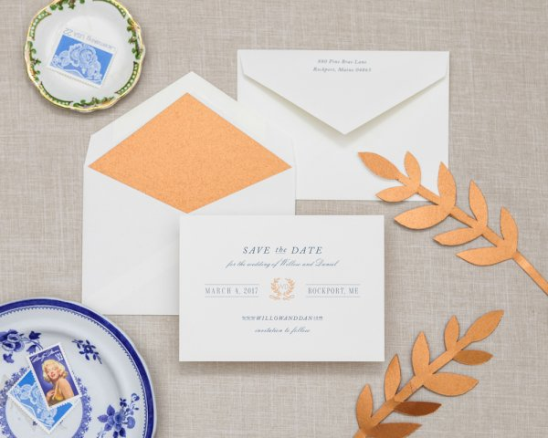quill you marry me wedding save the date copper foil metallic accents